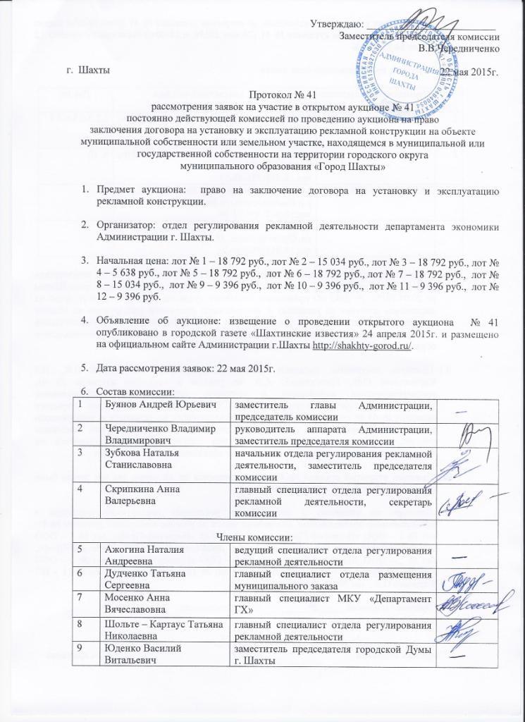 Протокол рассмотрения заявок на участие в открытом конкурсе 223 фз